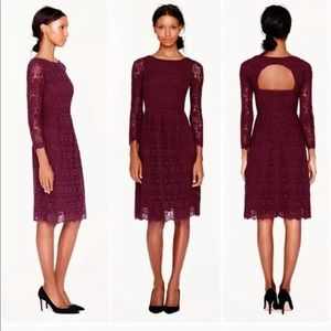 J Crew Collection Lace Francoise Dress Pinot Noir